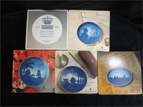5 Decorative Plates Made by Royal Copenhagen Porcelain