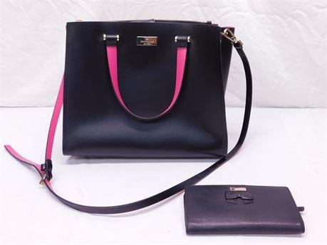 Kate Spade Hotpink Black Crossbody Bag & Wallet (R8)