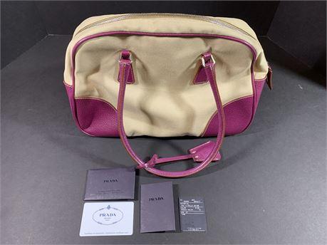 Prada Cream/Purple Hand Bag