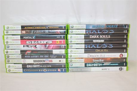 21 Xbox 360 Games Lot Read Dead Redemption Dark Souls Halo 3