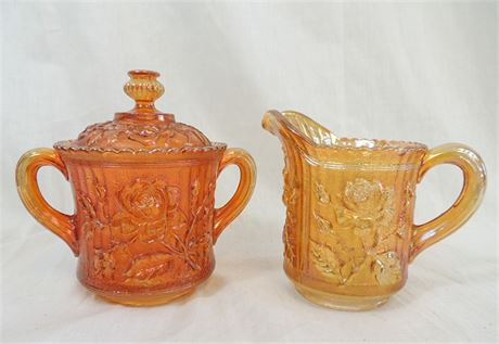 Vintage Imperial Glass Marigold Carnival Glass Rose Pitcher & Covered Dish