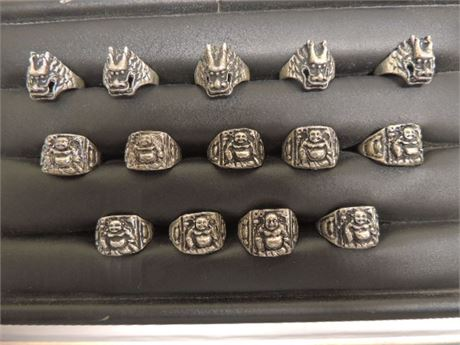 14 Asian Inspired Rings Silver Tone