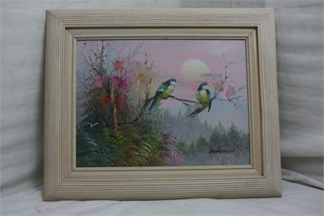 Framed Painting of Birds by M. Henderson