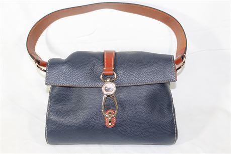 Dooney & Bourke Navy Blue Pebble Leather Logo Lock Shoulder Bag