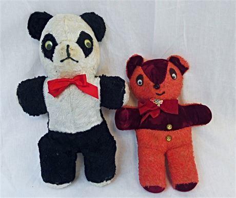 Vintage 1950's Teddy Bears - Red Bear & Panda Plush Stuffed Toy Google Eyes