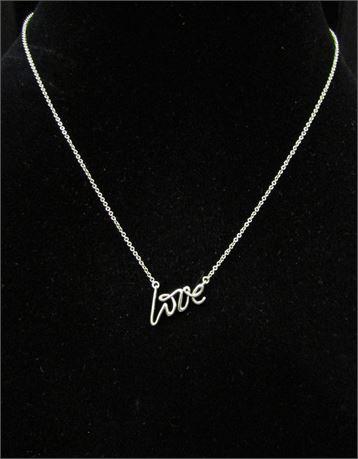 """Tiffany & Co. 925 Silver """"Love"""" Pendant Necklace"""