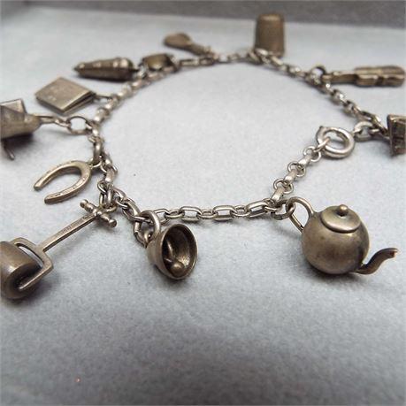 Vintage Sterling Silver Charm Bracelet 16 Grams
