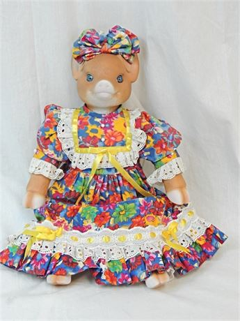 "Goebel Betty Jane Carter 20"" Musical Cloth & Porcelain Pig Doll"