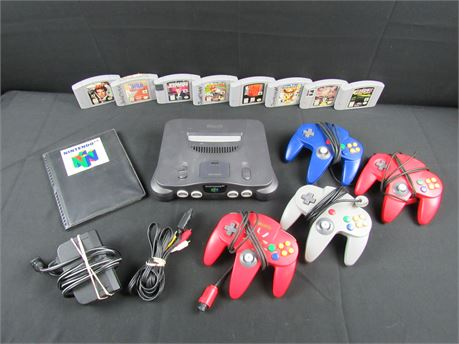 Nintendo 64 Console Bundle Including Games, Controllers and Cables   (650)
