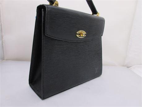 "Louis Vuitton Black Epi Leather ""Malesherbes"" PM Bag"
