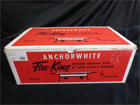 Vintage Anchorwhite Fire King Divided Serving Dish with Twin Candle Warmer