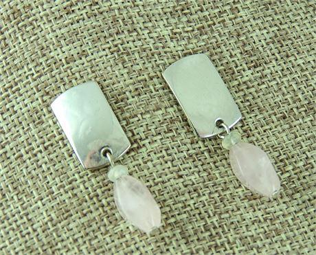 MBSF Marjorie Baer SF Rose Quartz & Silver Tone Drop/Dangle Earrings (579-J)