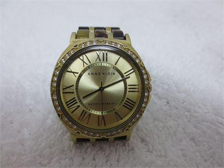 Anne Klein Gold Tone Watch with Tortoiseshell Band