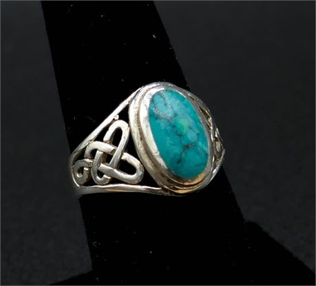 925 Sterling Silver Celtic Knot & Turquoise Signet Ring Size 7.5 (579-J)