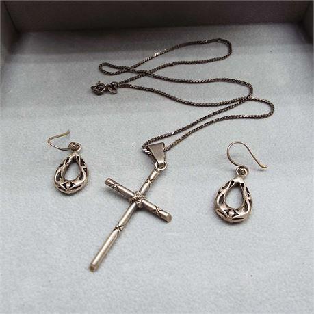 4 Piece Tribal 11.8 Gram Earring Set & Cross Necklace Sterling No Stones