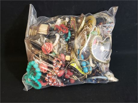 Lot Of Mixed Quick Sorted Costume Jewelry. 13 Lbs. 1.2 oz. W/ Bag