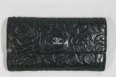 Chanel Black Camellia Embossed Double Flap Wallet