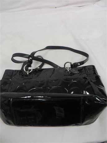 COACH Medium Shoulder Bag, Black Sheen