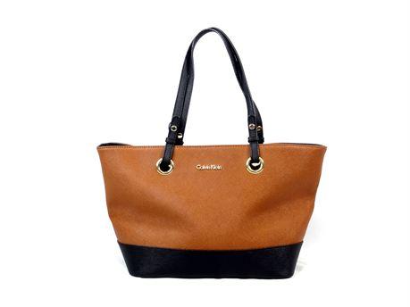 Calvin Klein Saffiano Leather Shoulder Tote Two Tone Bag Black/Brown H3JA12EE