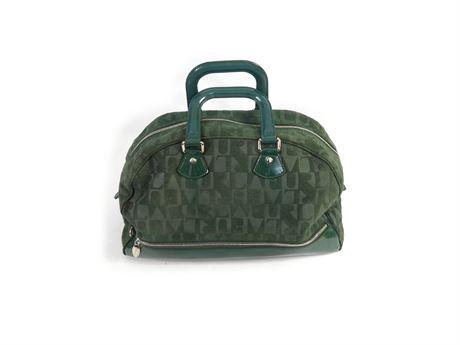 Large Green Furla Handbag, Monogram Sued Leather Made In Italy