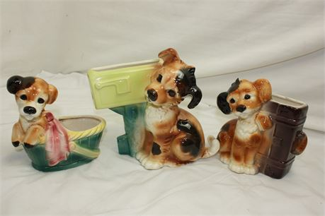 3 Vintage Royal Copley China Dog/Puppy Planters