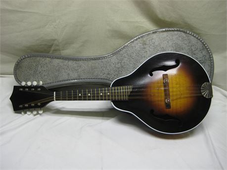 Unlabeled Eight String Mandolin With Case