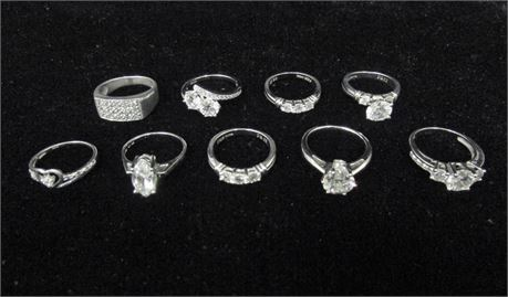 Lot of 9 Sterling 925 Silver CZ Rings