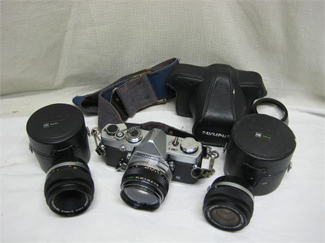 Olympus OM-1 SLR Film Camera With 3 Olympus Lenses