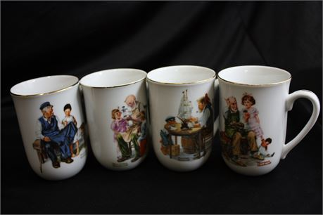 Set of 4 Normal Rockwell Coffee Cups