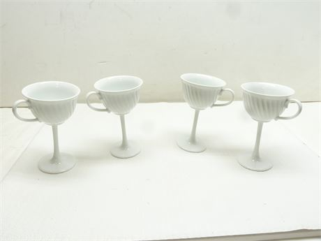 """4- Milk Glass (Extended Stem) Coffee Cups; 6""""x 4"""""""