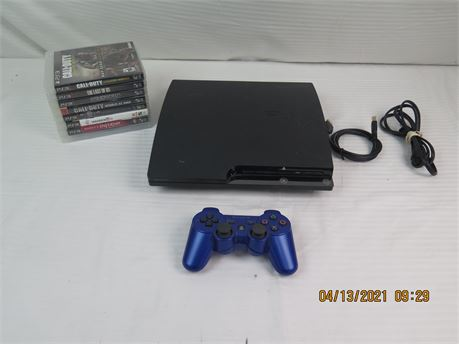 Sony PlayStation 3 PS3 Slim 120GB CECH-2001A Game Console w/ Controller, 8 Games
