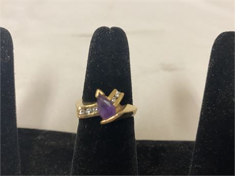 14k Gold Ring With Diamonds Size 6 (Tested)