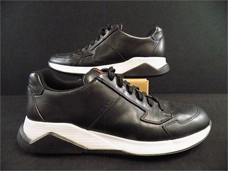 Prada 4E2807 Black Leather Sneakers, Size:9.5