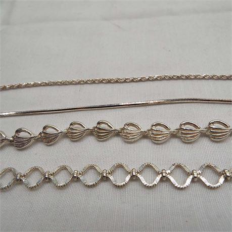 4 Sterling Silver Bracelets Multiple Lengths 20 Grams Total