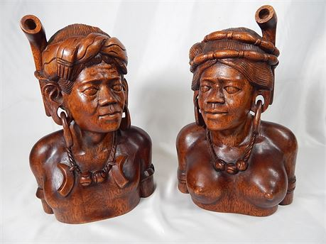 Pair Hand Carved Busts from the Philippines (270r4s3)