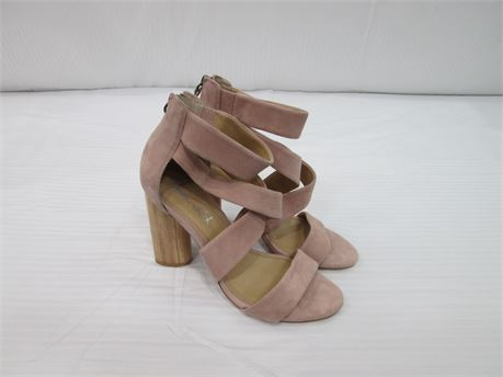 Splendid Womens Leather Sandal with Block Heel Size 8 Pink