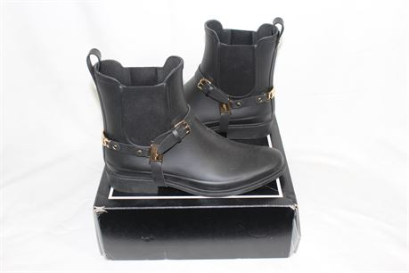 Karl Lagerfeld Paris Black Rubber Chelsea Rain Boots, Style: LOU3