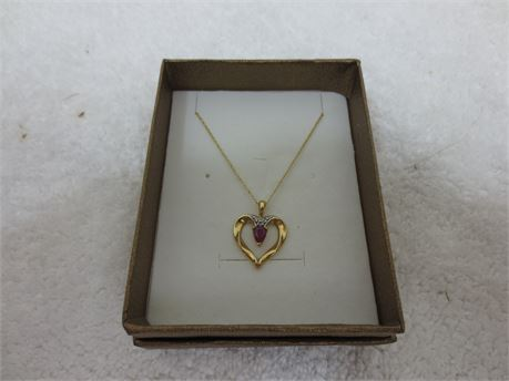 10 KT Gold Untreated Ruby and Diamond Heart Pendant Necklace