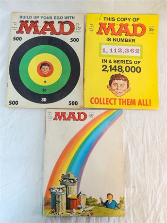 3 Pc Lot Vintage 1960's & 70's Mad Magazines - #71, 123, 152
