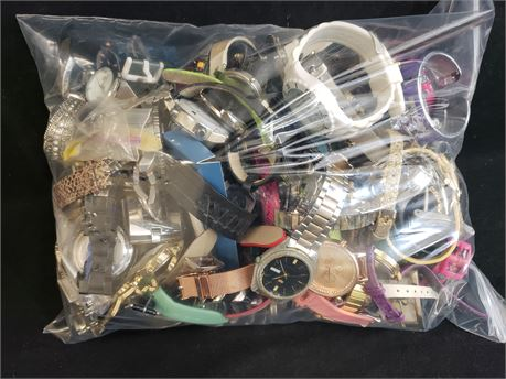 Large Lot Of Assorted Watches. 10 lbs. 10.2 oz. W/ Bag