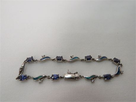 .925 Sterling Silver Bracelet With Blue And Clear Stones (Tested)