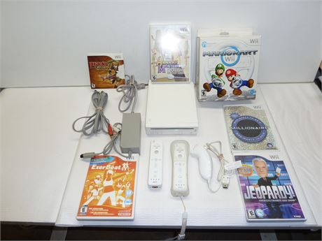 Lot Of Wii : 1 Console,3 Controllers,2 Mario Cart Wheels & 5 Games Pre-Owned