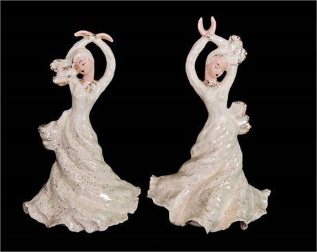 "2 Pc Set Vintage Hedi Schoop Dancing Girl Ceramic Planters 13-1/2"" & 12-1/2"""