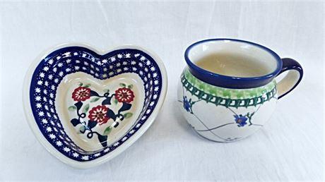 Polish Pottery - Boleslawiec Bubble Mug & Heart Shaped Display Dish