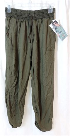NWT Rewash Women's Medium Olive Casual Jogger Harem Style Pants (579)