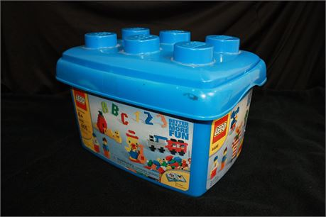 Large Lot of Lego Bricks in Blue Lego Storage Container