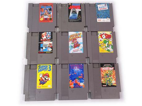 Lot of 9 Nintendo NES Games Super Mario Ninja Turtles Tetris Yoshi Jaws Waldo #1