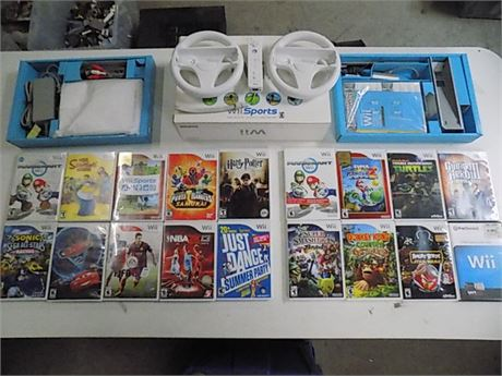 Nintendo Wii Package Bundle: 1 Console, 1 Remote, 18 Games; Tested!