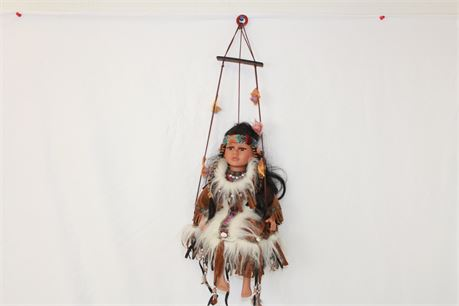 Cathy Collection Porcelain Native American Doll 16""