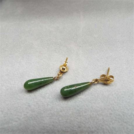 1.7 Gram // 14kt Gold Jade Earrings